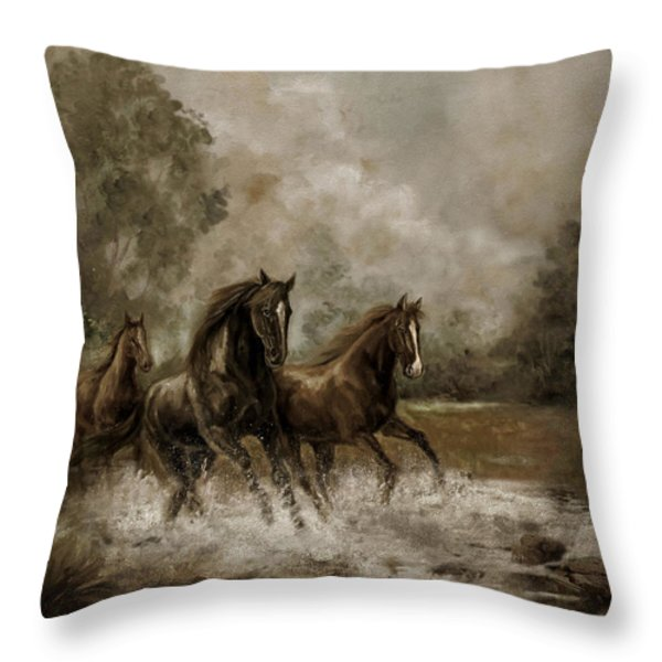 Horse Painting Escaping the Storm Throw Pillow by Gina Femrite