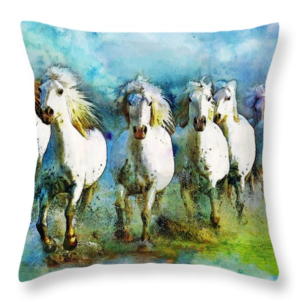 Horse Paintings 006 Throw Pillow by Catf
