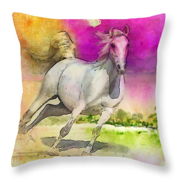 Horse paintings 007 Throw Pillow by Catf