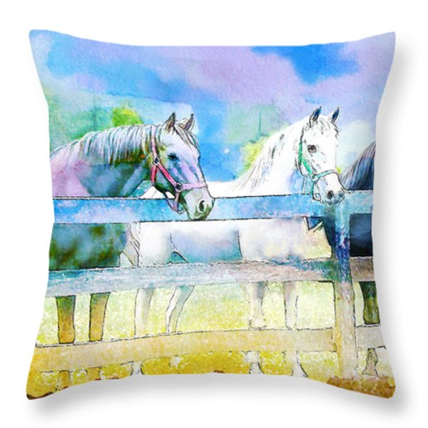 Horse Paintings 008 Throw Pillow by Catf