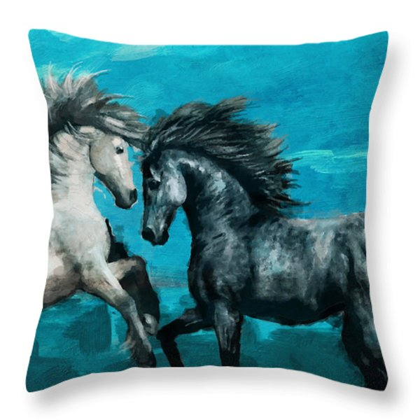 Horse paintings 011 Throw Pillow by Catf