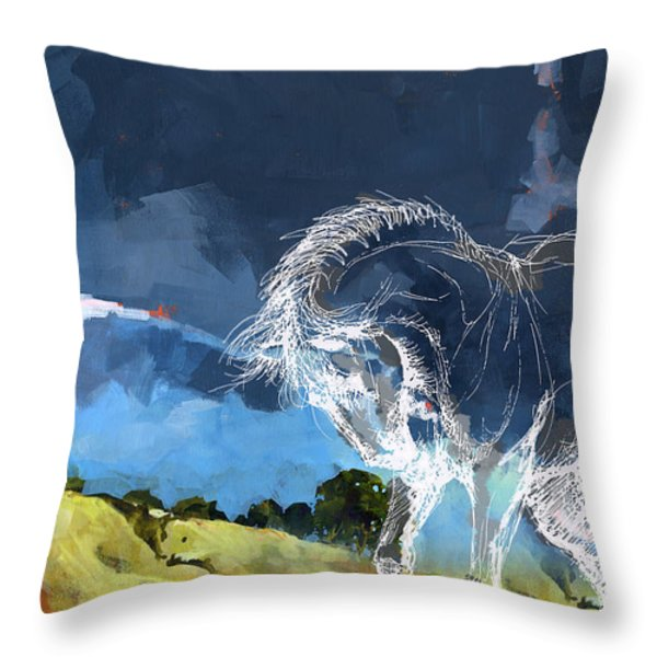 Horse Paintings 012 Throw Pillow by Catf