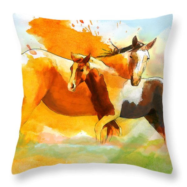 Horse Paintings 013 Throw Pillow by Catf