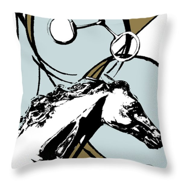 Horse Print Abstract in Blue and Brown Throw Pillow by Anahi DeCanio