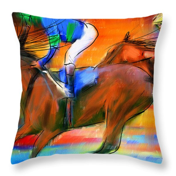 Horse Racing II Throw Pillow by Lourry Legarde