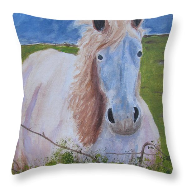 Horse With Stormy Skies Throw Pillow by Dawn Dreibus