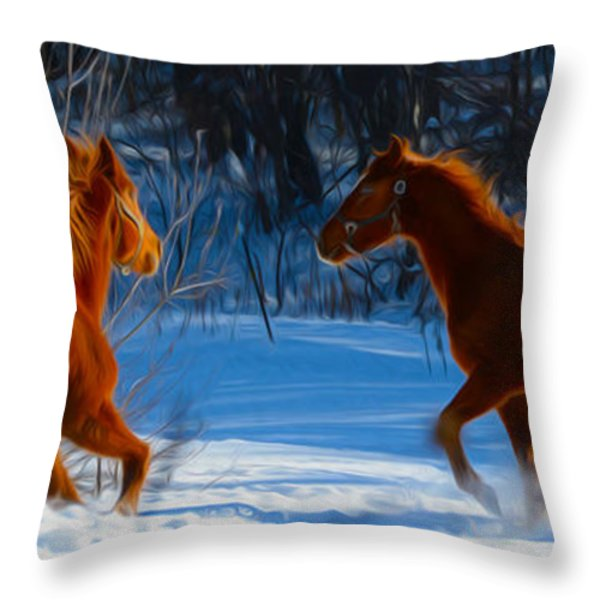 Horses at play Throw Pillow by Tracy Winter