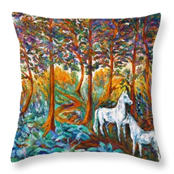 HORSES in the SHADE Throw Pillow by Gunter  Hortz