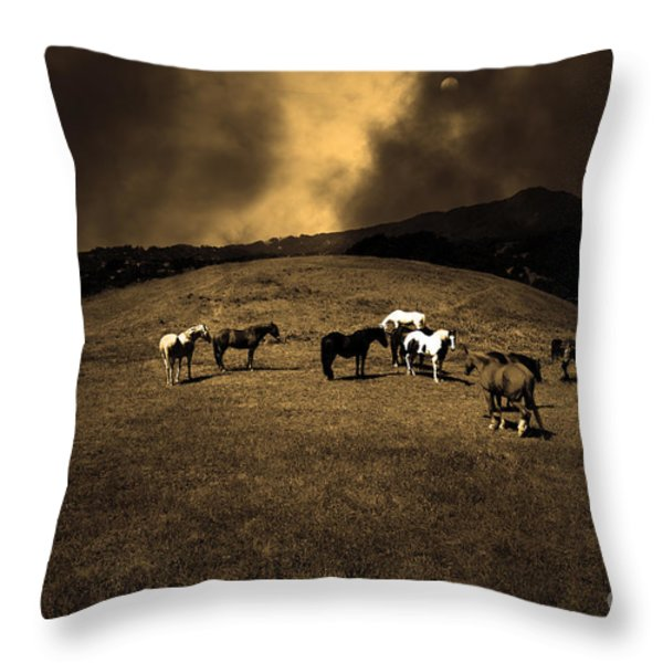 Horses of The Moon Mill Valley California 5D22673 sepia Throw Pillow by Wingsdomain Art and Photography
