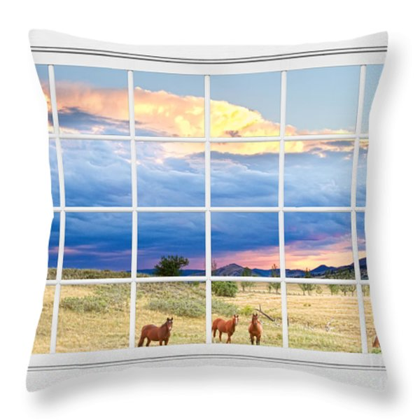 Horses On The Storm Large White Picture Window Frame View Throw Pillow by James BO  Insogna