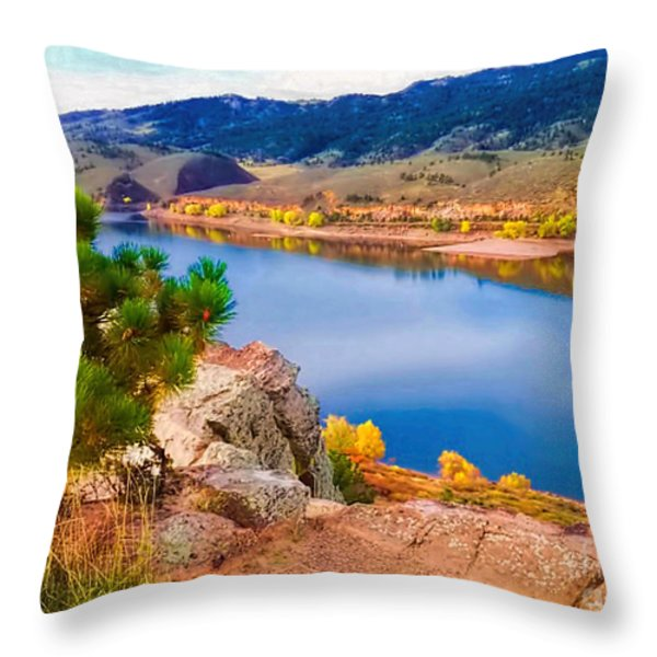 Horsetooth Lake Overlook Throw Pillow by Jon Burch Photography