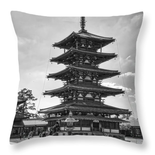 HORYU-JI TEMPLE PAGODA B W - NARA JAPAN Throw Pillow by Daniel Hagerman
