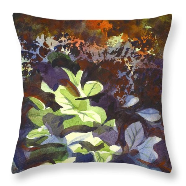 Hostas In The Forest Throw Pillow by Kip DeVore