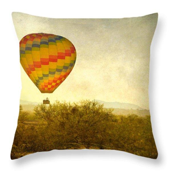 Hot Air Balloon Flight Over The Southwest Desert Fine Art Print  Throw Pillow by James BO  Insogna