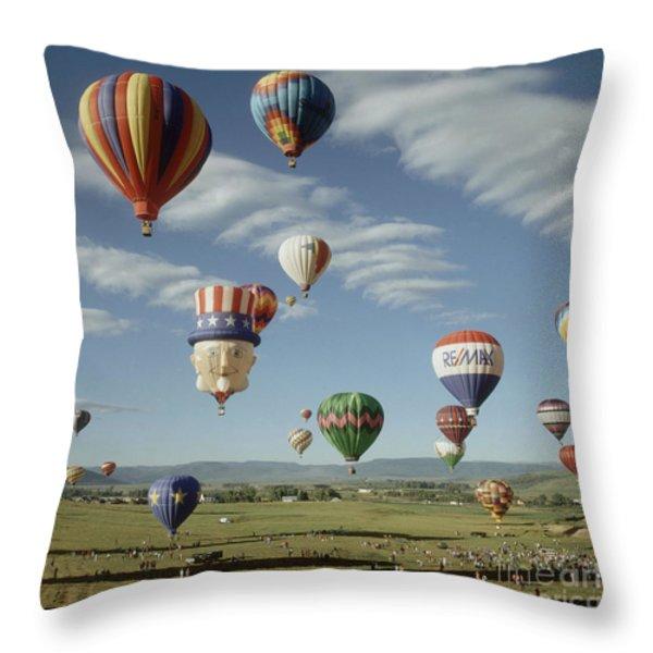 Hot Air Balloon Throw Pillow by Jim Steinberg