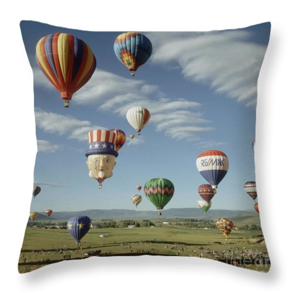 Hot Air Balloon Throw Pillow by Jim Steinberg
