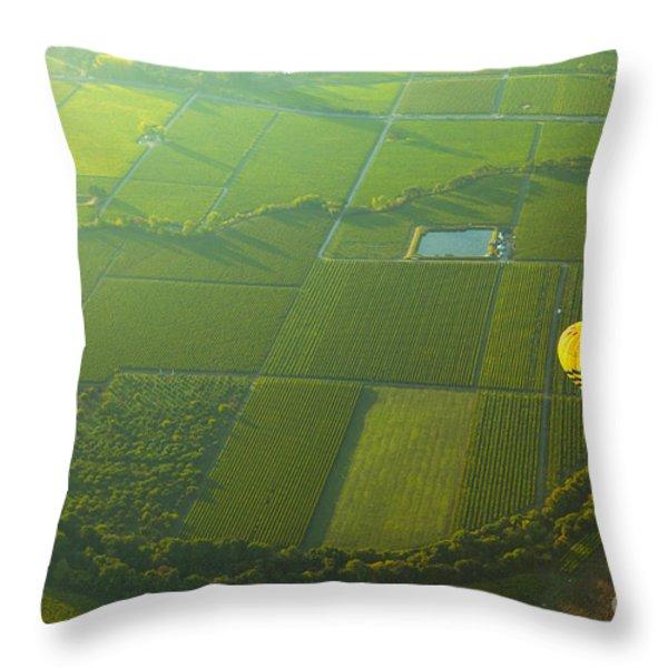 Hot Air Balloon Over Napa Valley California Throw Pillow by Diane Diederich