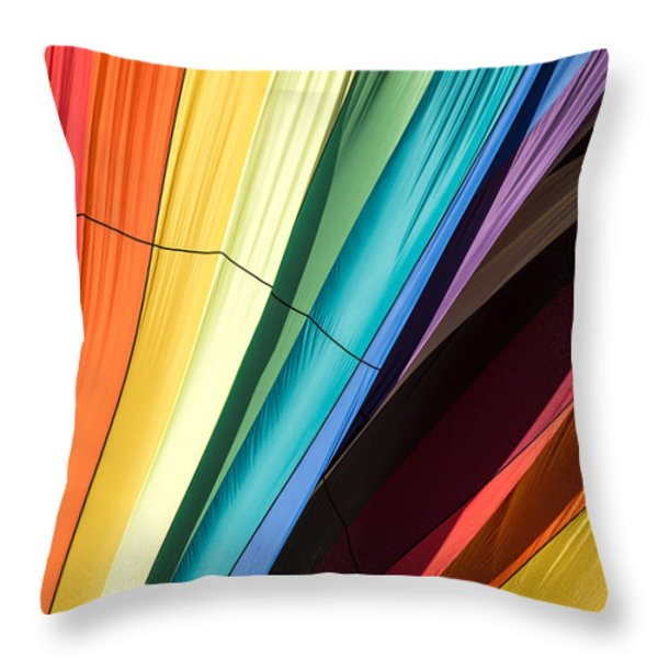 Hot Air Balloon Rainbow Throw Pillow by Edward Fielding