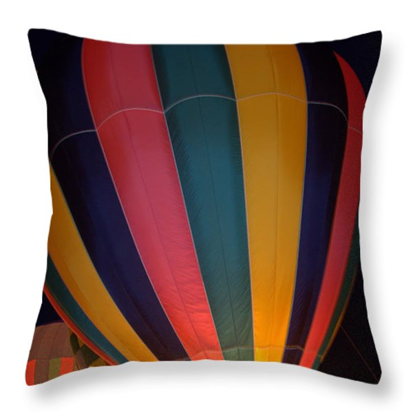 Hot Air Balloon Up Up Glow Throw Pillow by Kathy Bassett