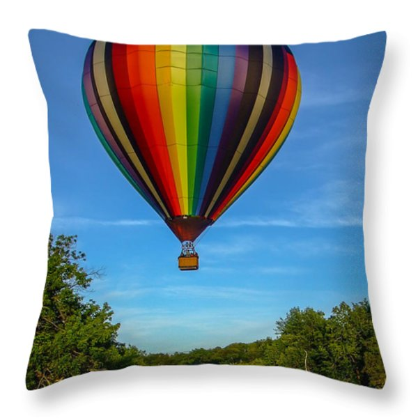 Hot Air Balloon Woodstock Vermont Throw Pillow by Edward Fielding