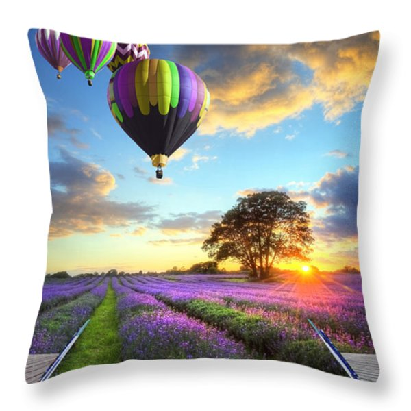 Hot air balloons and lavender book Throw Pillow by Matthew Gibson