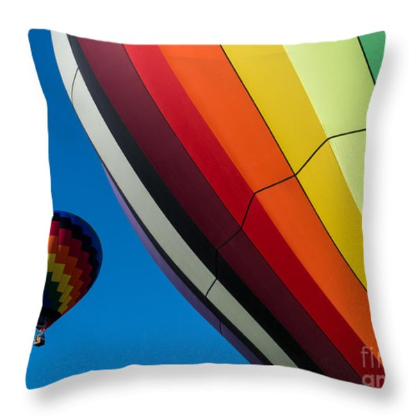Hot Air Balloons Quechee Vermont Throw Pillow by Edward Fielding