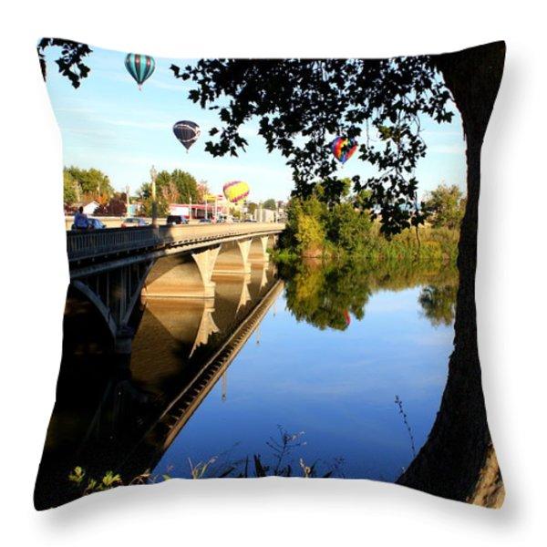 Hot Air Balloons through Tree Throw Pillow by Carol Groenen