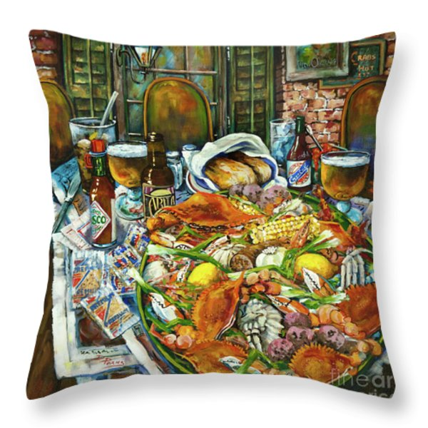 Hot Boiled Crabs Throw Pillow by Dianne Parks