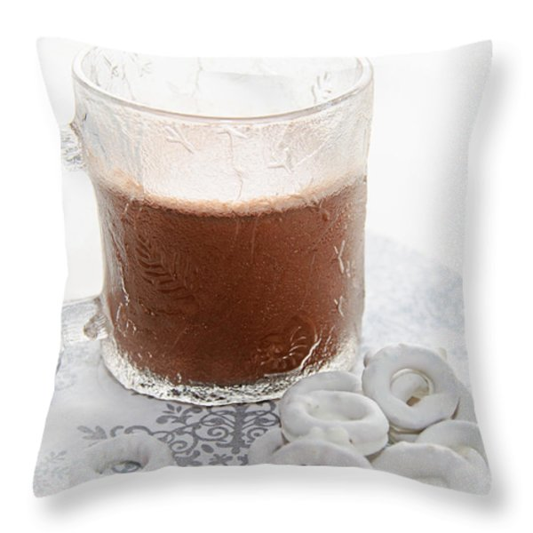 Hot Chocolate And Candy Coated Pretzels Throw Pillow by Andee Design