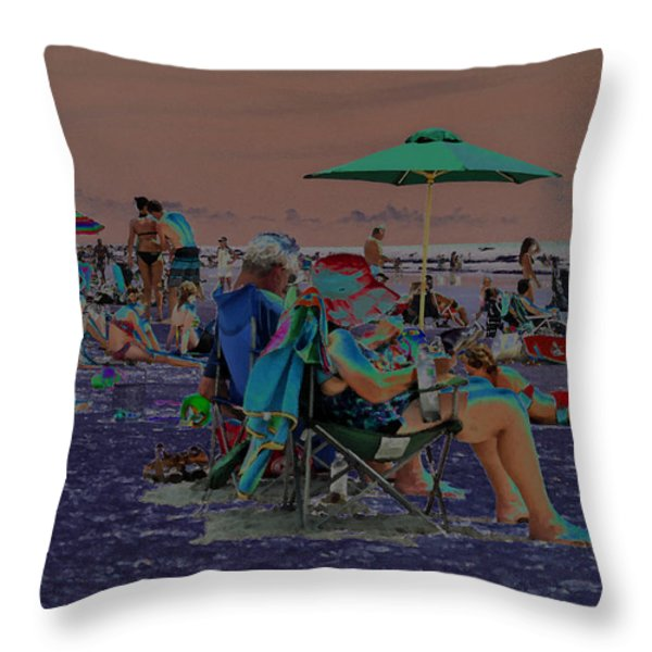 Hot Day at the Beach - Solarized Throw Pillow by Suzanne Gaff
