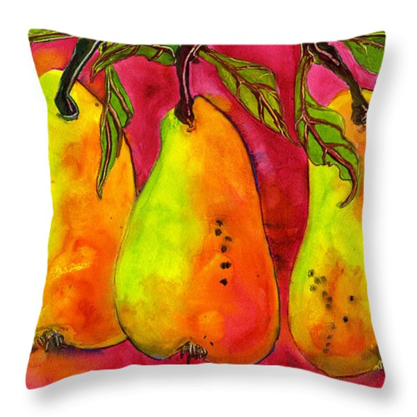 Hot Pink Three Pears Throw Pillow by Blenda Studio