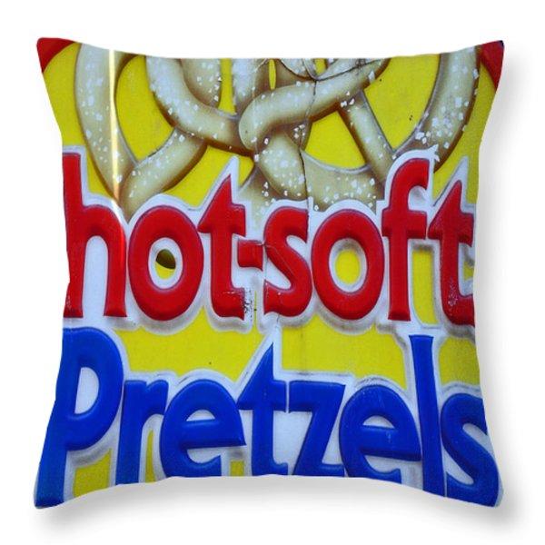 HOT PRETZELS Throw Pillow by Skip Willits