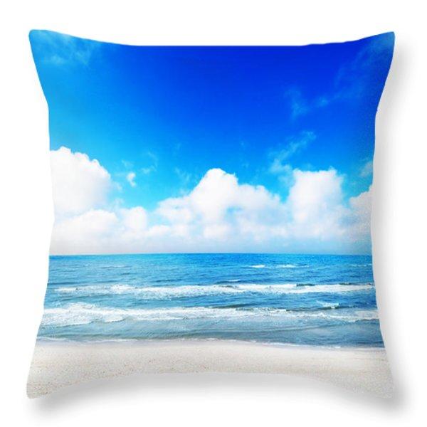 Hot Summer Beach Throw Pillow by Michal Bednarek