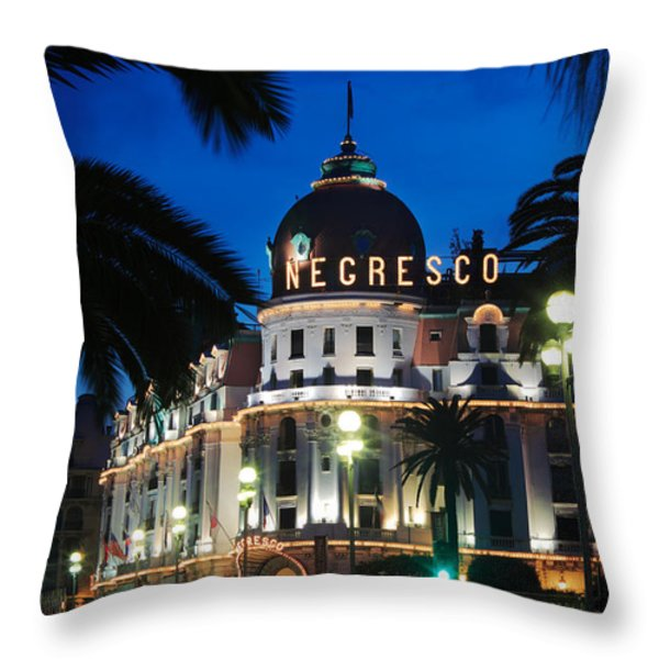 Hotel Negresco Throw Pillow by Inge Johnsson