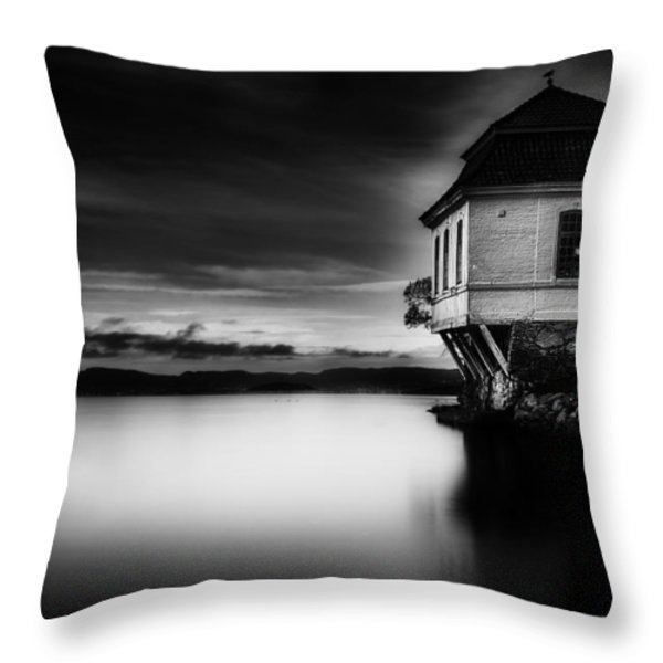 House by the Sea BW Throw Pillow by Erik Brede