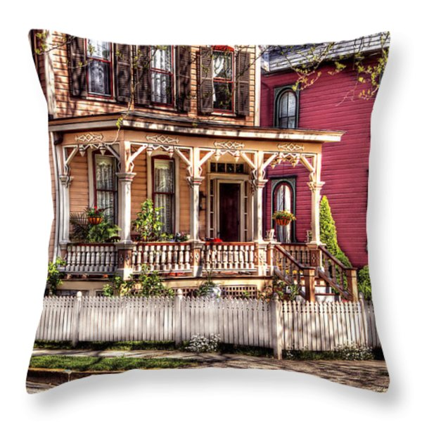 House - Country Victorian Throw Pillow by Mike Savad