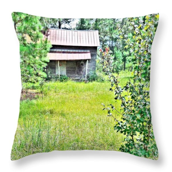 House In The Thicket Throw Pillow by Eloise Schneider