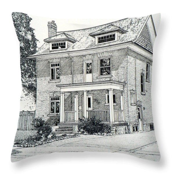 House Portrait In Ink 1 Throw Pillow by Hanne Lore Koehler