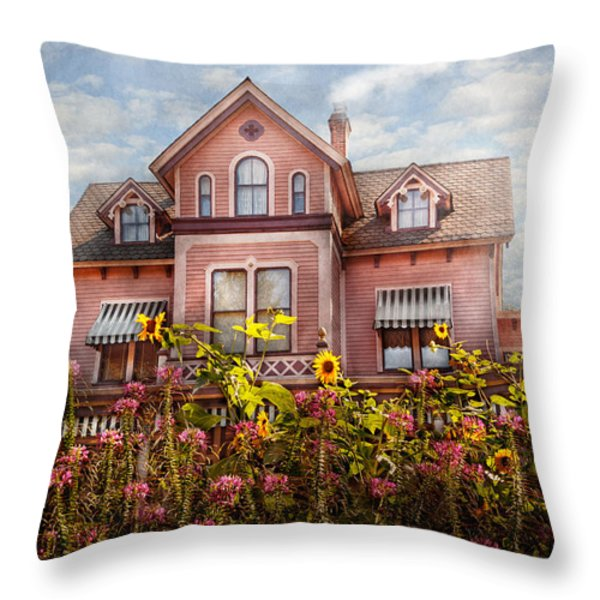 House - Victorian - Summer Cottage Throw Pillow by Mike Savad