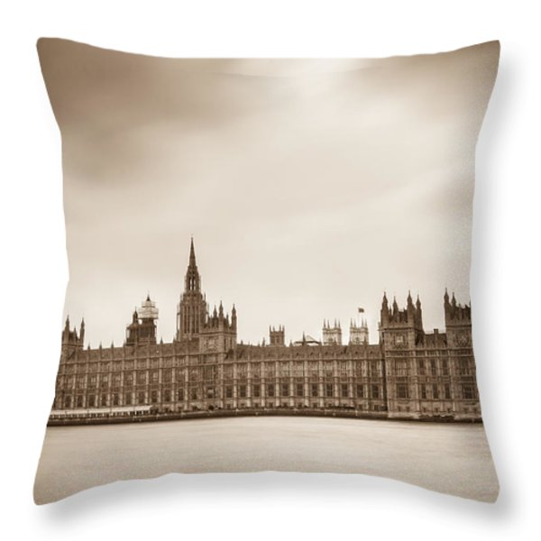 Houses of Parliament and Elizabeth Tower in London Throw Pillow by Semmick Photo