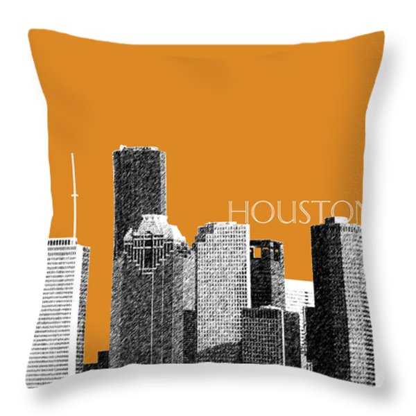 Houston Skyline - Dark Orange Throw Pillow by DB Artist