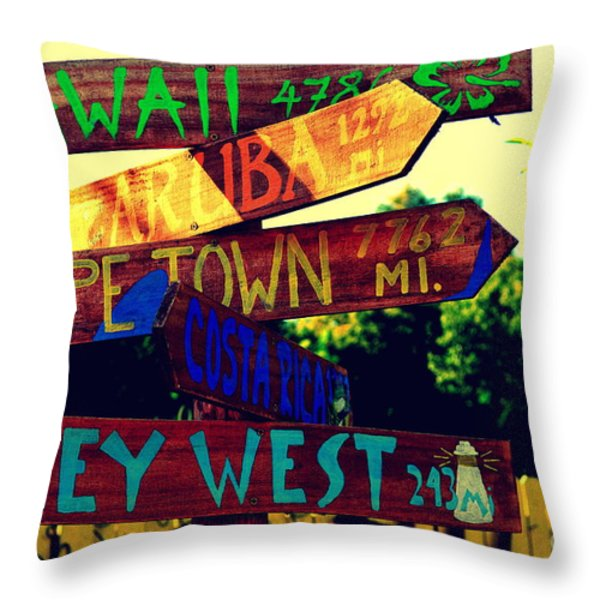 How Far Is It To Key West Throw Pillow by Susanne Van Hulst