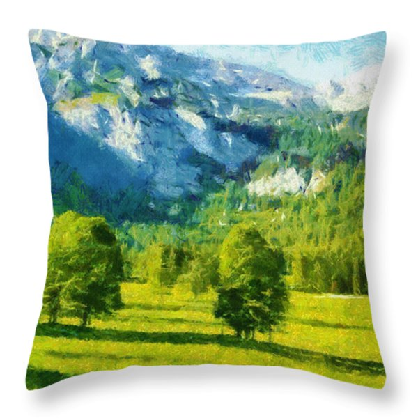 How Green Was My Valley Throw Pillow by Ayse Deniz