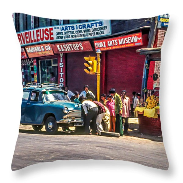 How To Change A Tire Throw Pillow by Steve Harrington