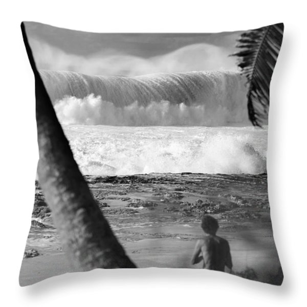 Huge Surf In Hawaii. Throw Pillow by Sean Davey