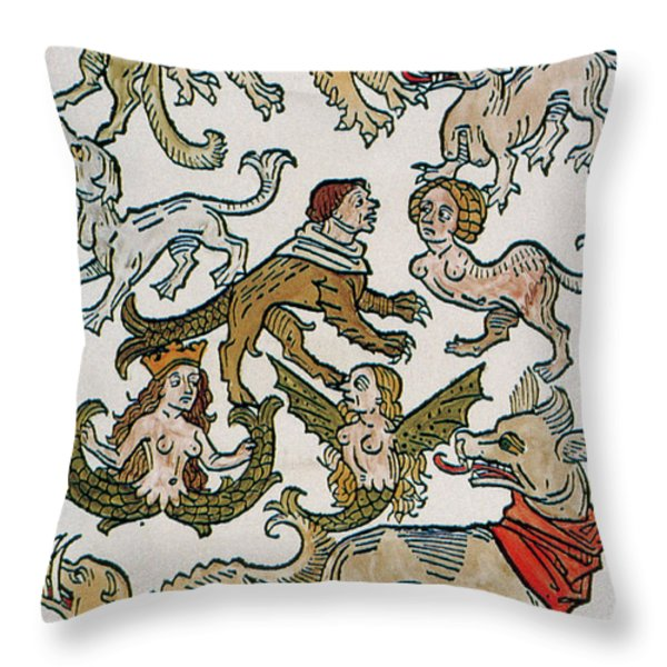 Human Monsters 1493 Throw Pillow by Photo Researchers