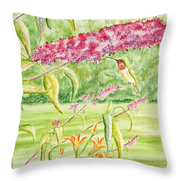 Hummer At Butterfly Bush Throw Pillow by Kathryn Duncan