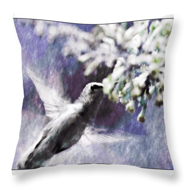 Hummer Feeding Throw Pillow by Susan Leggett