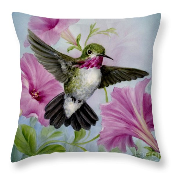 Hummer in Petunias Throw Pillow by Summer Celeste
