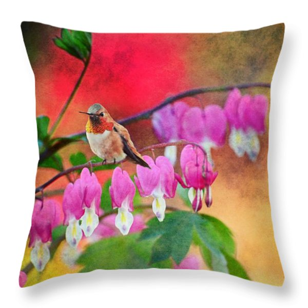 Hummer With Heart Throw Pillow by Lynn Bauer